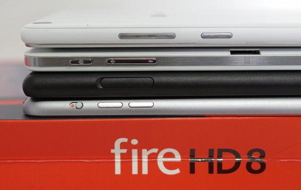 TE507/FAW、Chuwi Hi8、Fire HD 8、iPad mini3を並べて表示
