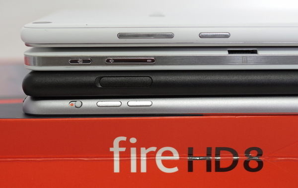 TE507/FAW、Chuwi Hi8、Fire HD 8、iPad mini3を並べて表示