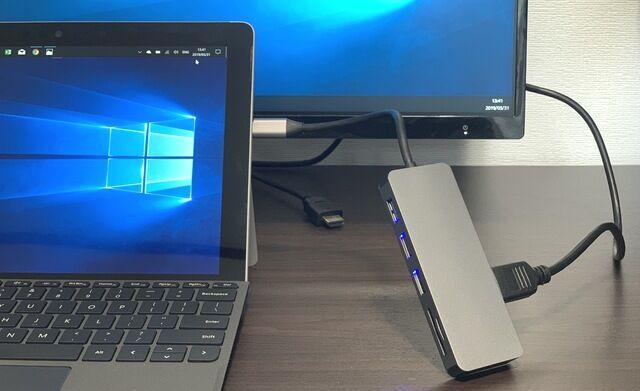 Surface GoでHDMI外部出力、本体への給電も可能なUSBハブの