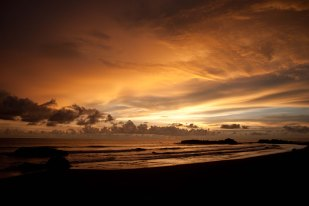 Beautiful sunset on a beach in Nuqui on the Pacific coast of Colombia (Choco)