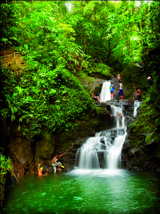 Tranquil waterfall pool at Nuqui, in the Pacific coast of Colombia