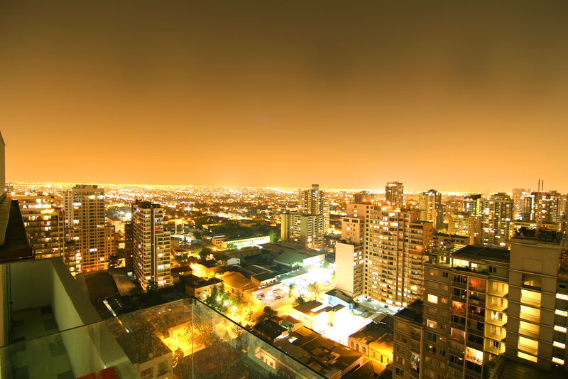 View over Sao Paulo at night in Brazil