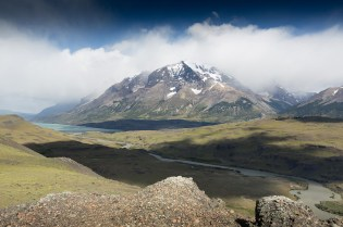 The impressive snow-capped mountains in Torres del Paine National Park, Patagonia, Chile