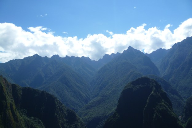 View of the mountains and valleys surrounding Machu Picchu, near Cusco, Peru