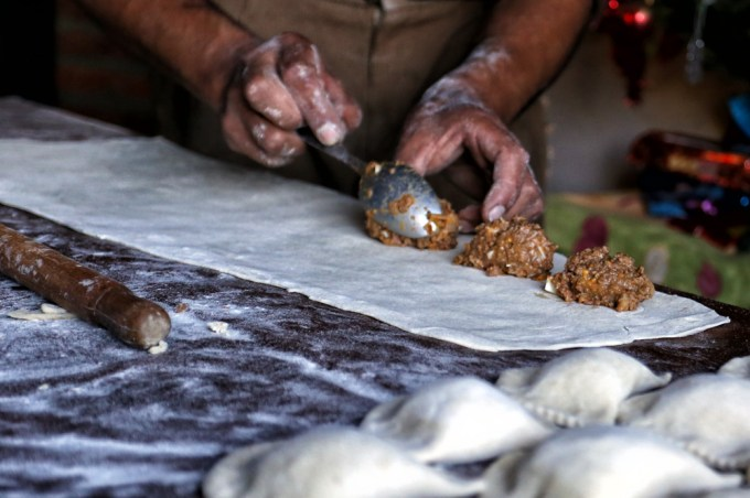 Preparing delicious empanadas