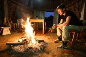 Danny enjoying the fire