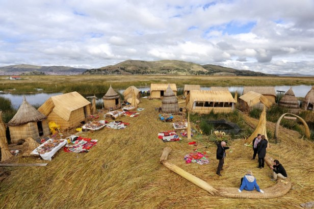 A typical island will host a couple of families on the Lake Titicaca