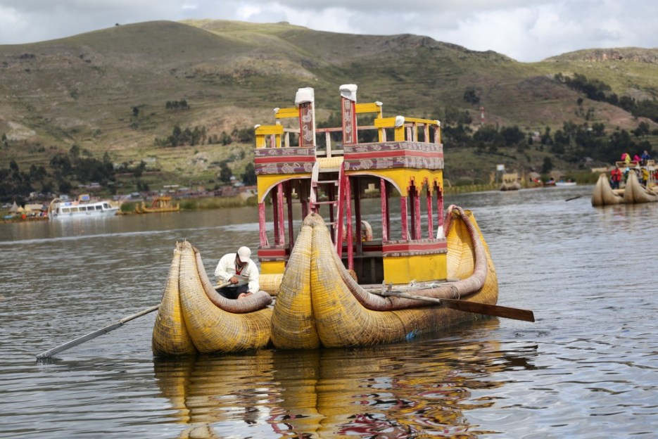A beautiful boat woven from the reeds at Lake Titicaca