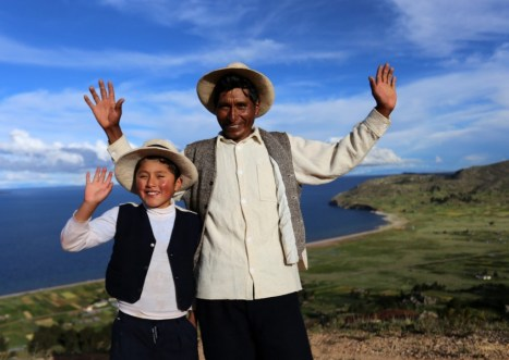 What a duo! Orlando and his son at Lake Titicaca in Peru