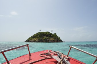 Arriving at Crab Cay by boat, Providencia Island, Colombia