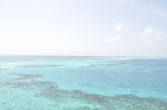 Hazy blue of sea and sky around Providencia Island, Colombia