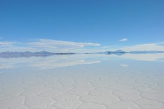 The reflexion of a sureal wet Uyuni Salt Flat, Bolivia