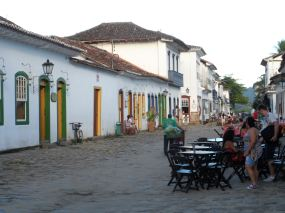 Colourful cobbled streets in Paraty, Brazil