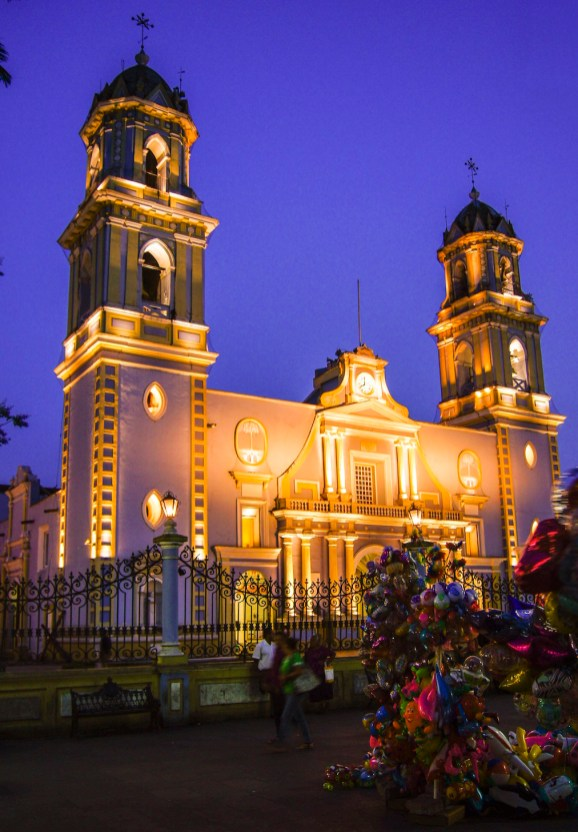 Majestic church and purple skies in Cordoba, Mexico