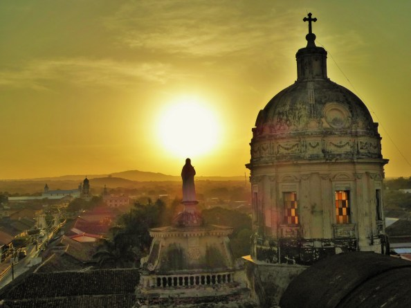 Views from Church of Nuestra Senora de las Mercedes at sunset, Nicaragua