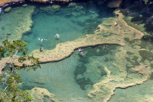 Incredible turquoise water of Semuc Champey in Guatemala