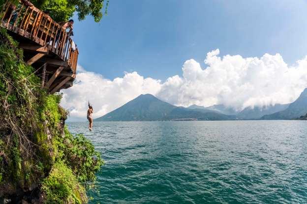 Jumping into the Atitlan Lake in Guatemala