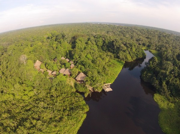 Incredible aerial view of the Sani Lodge in the Ecuadorian Amazon