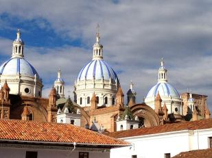 Sun shining perfectly on the New Cathedral of Cuenca, Ecuador