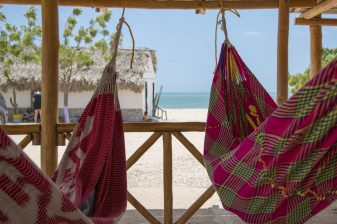 Time to relax in the colourful hammocks in Cabo de la Vela, Colombia