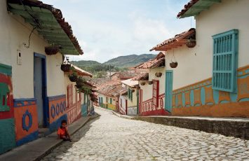 The colourful houses of the town of Guatape, Colombia