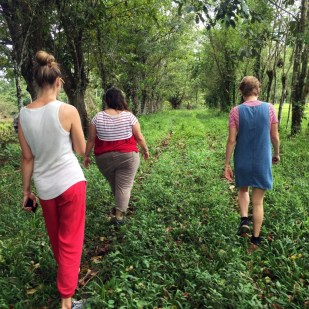 Starting our hike to the pristine waterfall and lush primary forest in Juanilama, Costa Rica