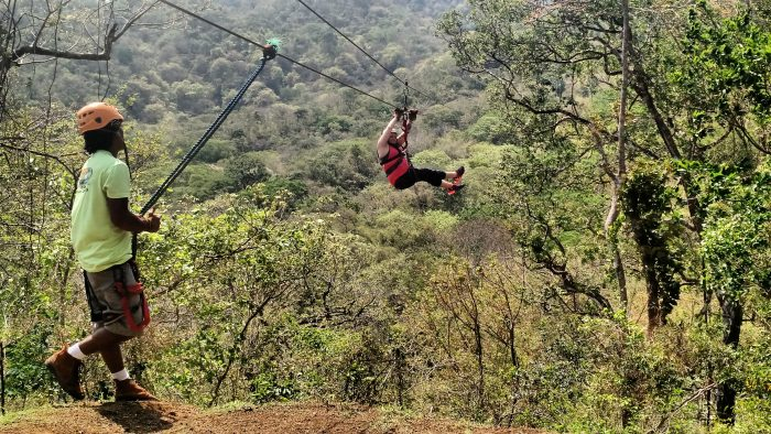 Ziplining through the canopy above Nosara River. (Photo by Mike K)