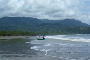 The boats for whale watching in Marino Ballena National Park are quite small