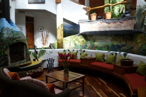 The nicely decorated and artistic spaces at Finca Rosa Blanca, a coffee plantation resort