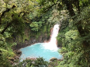 Arriving to the Celeste River waterfall in Tenorio Volcano National Park