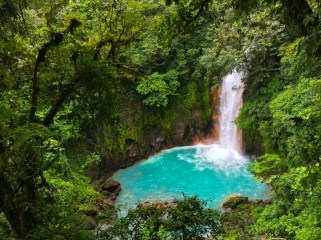 The Rio Celeste Waterfall in Tenorio Volcano National Park in Costa Rica