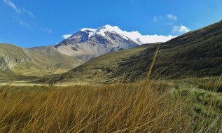 View of the Chimborazo in the Ecuadorean Andes