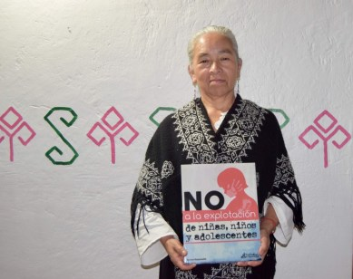 Dona Rufina campaigning against sexual exploitation of children and teenagers in Mexico