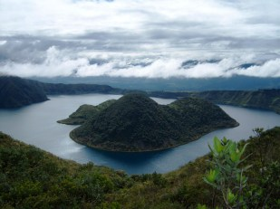 During a hiking excursion to the Cuicocha Lagoon near Otavalo, in Ecuador