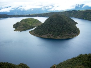 The beautiful Laguna Cuicocha in the Andes mountains, Ecuador