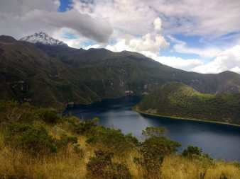 View of the Cotacachi Volcano during a hiking excursion in Laguna Cuicocha