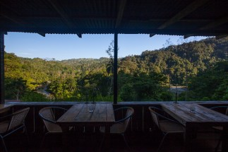 View of the river and the rainforest from the dining area of the Ave Sol Rio Sanctuary in Costa Rica
