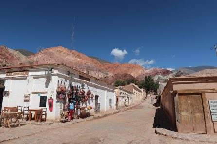 Colourful mountains and handicrafts in the tranquil town of Purmamarca, next to the Andes in Argentina