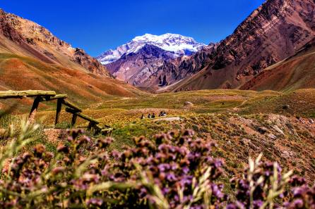 Hiking and admiring Andean landscapes near Mendoza in Argentina