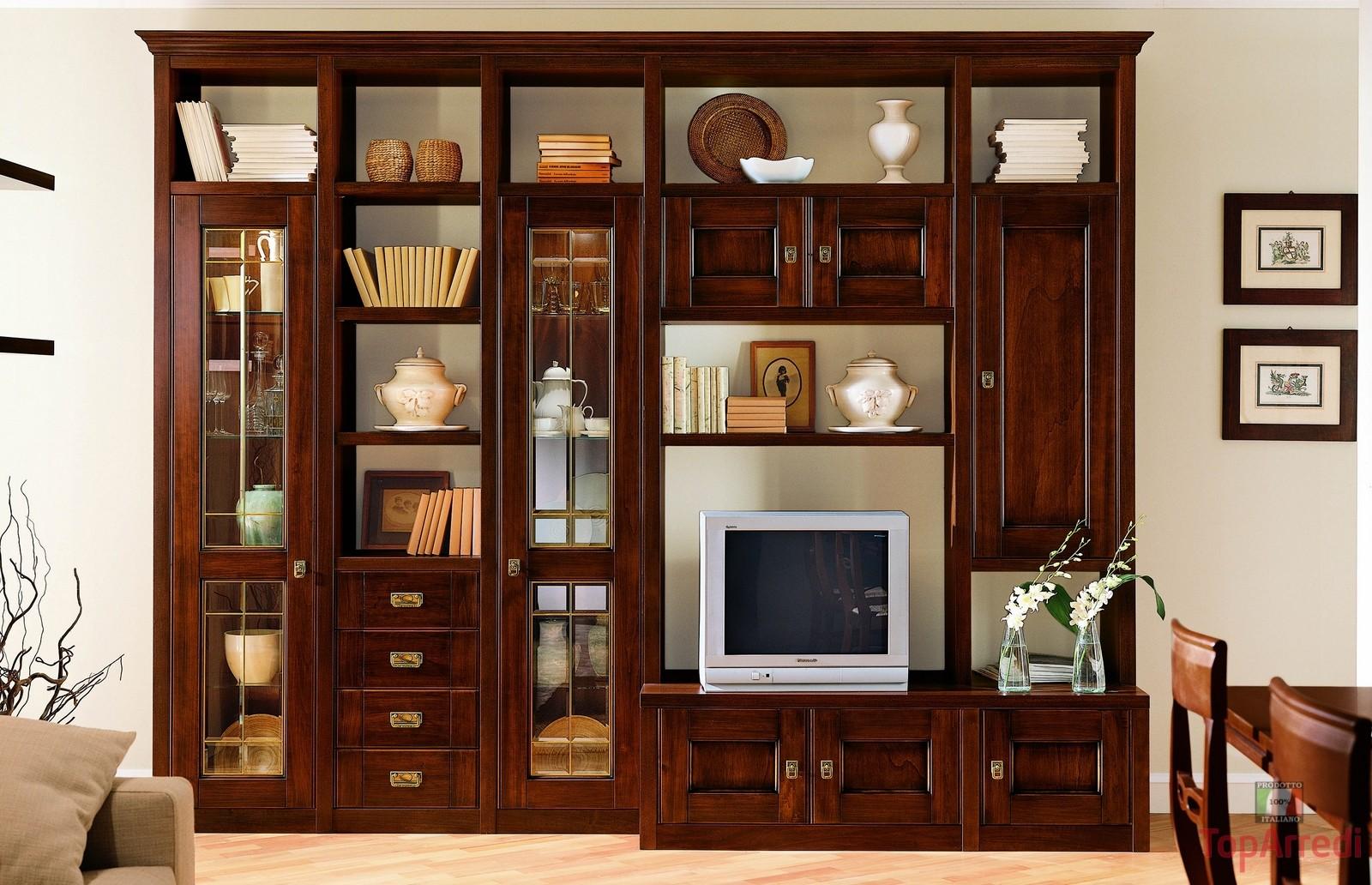 Arion parete soggiorno, colore rovere bianco prezzo consigliato: Soggiorni In Stile Classico Torino Sumisura Fabbrica Arredamenti