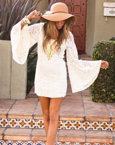 cute white summer dress outfit 2014 with long sleeves