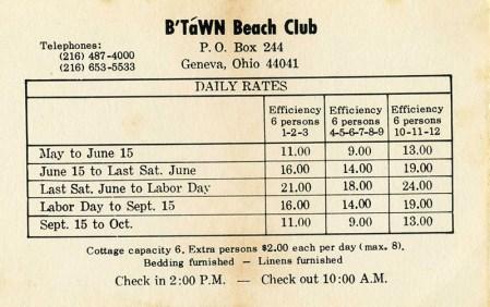 B'Tawn rate card
