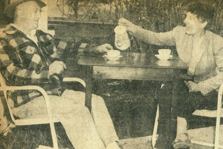 Mr. and Mrs. Norman Potikar enjoy a cup of coffee while discussing their big plans for Melody Acres in May 1955.