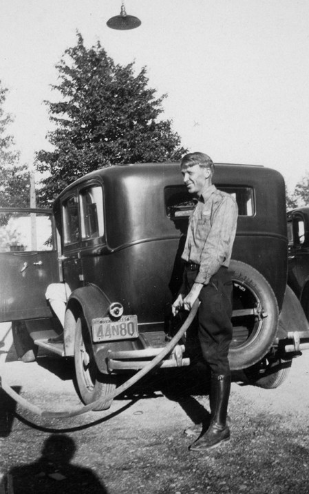John Zimmerman pumps gas in this 1933 photo.