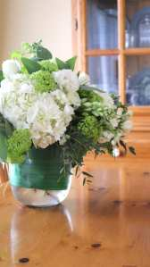 floral, glass, vase, white, green, hydrangea
