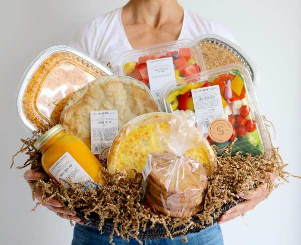 comfort food, basket, floral, catering, buy online