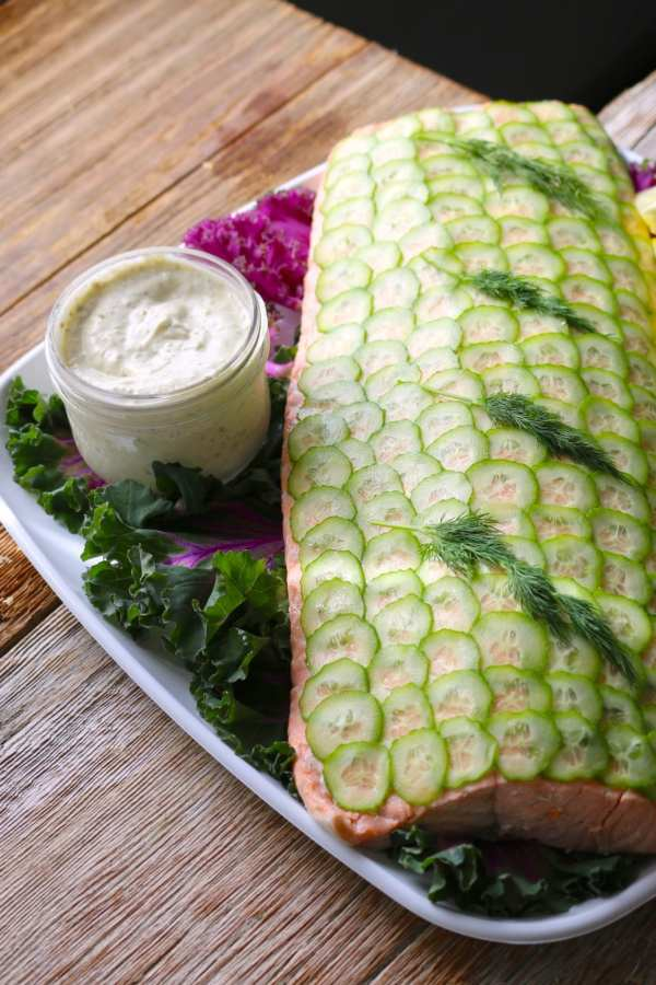 remoulade, cold, poached, salmon, platters, catering, fish, lemon, herbs, easy entertaining