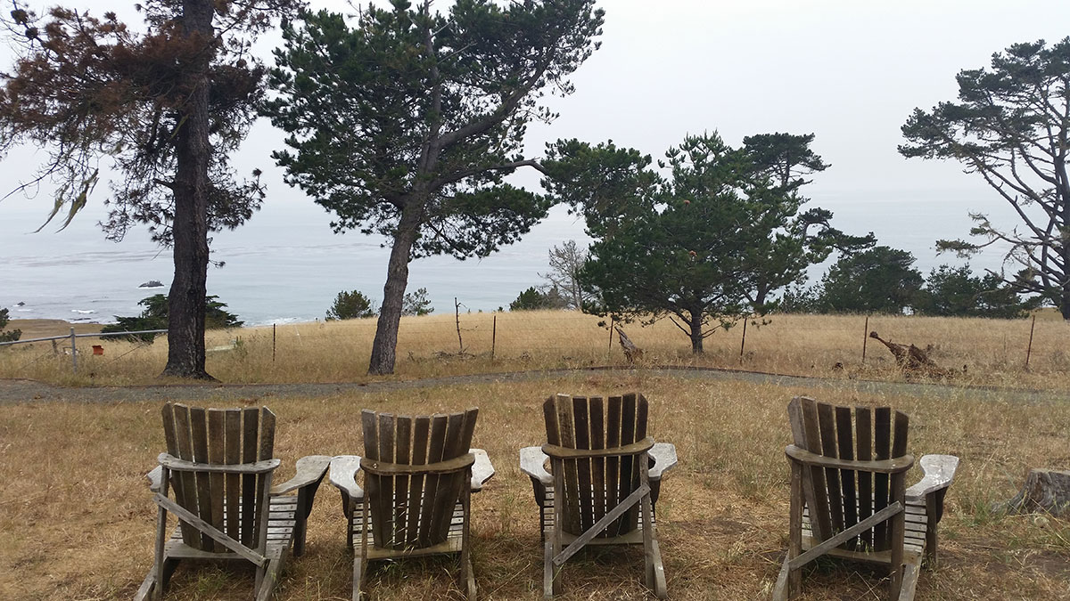 Chairs at camp, overlooking the Pacific Ocean