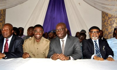 R-L Chairman, Edo State Chapter, All Progressives Congress (APC), Barr. Anslem Ojezua; Minister for Labour and Employment, Dr. Chris Ngige; Edo State Governor, Mr. Godwin Obaseki; his Deputy, Rt. Hon. Philip Shaibu; and Secretary to the State Government, Osarodion Ogie Esq., during the Swearing-In Ceremony of the elected local government chairmen, at the Government House, Benin City, on Monday, March 05, 2018.