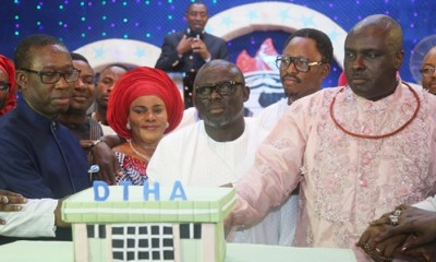 Delta State Governor, Senator Ifeanyi Okowa (left); former Governor of Delta State, Chief James Ibori (right); Speaker, State House of Assembly, Rt. Hon. Sheriff Oborevwori (middle); his wife Mrs. Tobore (2nd left); Delta State Deputy Speaker, Rt. Hon. Friday Osanebi (2nd right) and Other's, during the 3rd Anniversary Thanksgiving Service of the 6th Delta State House of Assembly, at Winner's Chapel, Ibusa Road, Asaba.